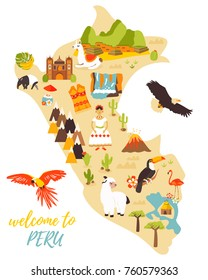 Tourist map of Peru with different landmarks