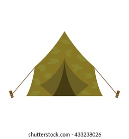 Tourist or a military tent in a flat style icon. Tent camping vector illustration