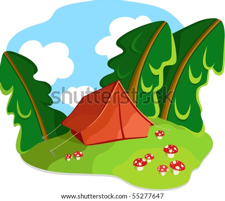 Tourist old-style tent in autumn forest and mushrooms. Vector illustration. No gradients  sc 1 st  Shutterstock & Tourist Oldstyle Tent Autumn Forest Mushrooms Stock Vector (Royalty ...