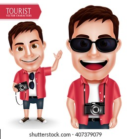 Tourist Photographer Man Vector Character Wearing Casual Holding Camera and Waving Hand for Travel and Hiking Isolated in White Background. Vector Characters Set