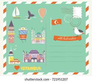 Tourist postcard with famous destinations and landmarks of Istanbul. Explore Istanbul concept image