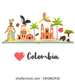 Tourist poster with famous destinations and landmarks of Colombia. Explore Colombia concept image. For banner, travel guides