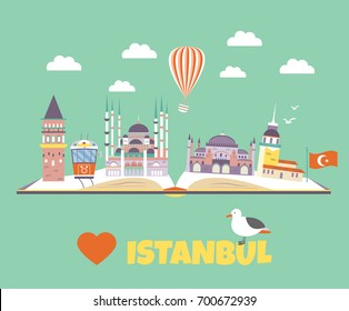 Tourist poster with famous destinations and landmarks of Istanbul. Explore Istanbul concept image