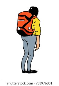 Tourist with a red backpack. Back view. Vector illustration.