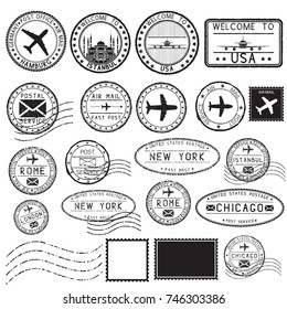 Tourist stamps and postmarks. Collection of round ink stamps. Vector illustration isolated on white background