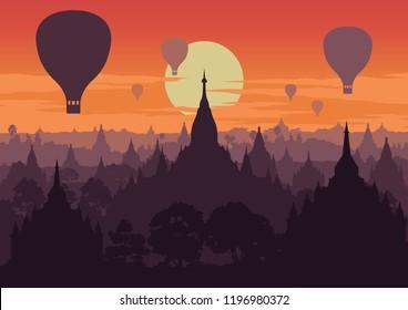 tourist take photo of famous pagoda,landmark of Myanmar on sunset time,vintage color style,vector illustration
