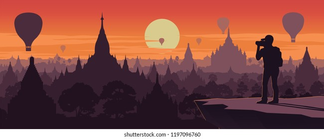 tourist take photo of pagoda sea,landmark of Myanmar on sunset time,vintage color style,vector illustration
