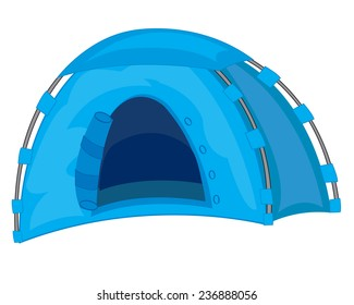 Tourist tent of the blue color on white background
