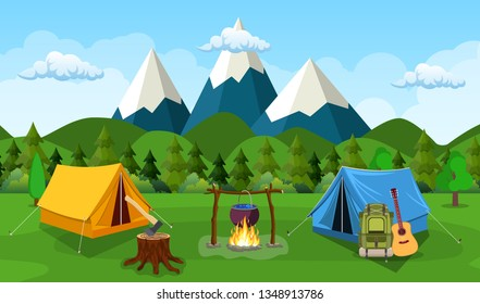 Tourist tent on the background of mountain and wood. vector illustration in flat design