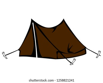 Tourist tent vector - Hiking and camping tent vector - Tourist camp tent - Tent camping in outdoor travel