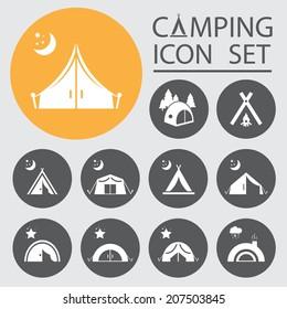 Tourist tent.Icon Set.Vector  illustration.