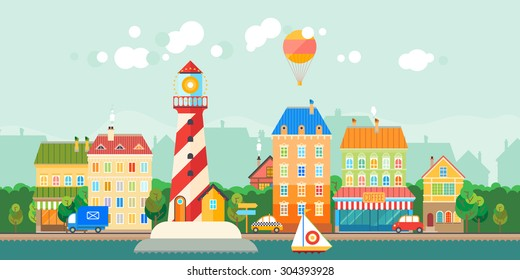 Tourist town with a lighthouse