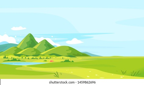 Tourist trails in the beautiful green mountains in sunny day with camping near small lake, hiking travel concept illustration background, top of the hill, conquer the top of the mountains