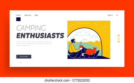 Tourist Travel with Pet Landing Page Template. Man and Cat Characters inside of Camping Tent Enjoying Drinking Coffee and Scenic Landscape View. Hiking Summer Outdoor Relax. Linear Vector Illustration