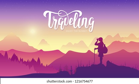 Tourist traveler with binoculars at sunset. Extreme hike in the wild illustration. Mountain view of nature vector.  mountaineering sport lifestyle concept. Active hiker enjoying