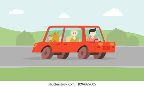 Tourist travelling by red automobile with pet on the picturesque landscape vector illustration. Man at the wheel of vehicle girl sitting on the passenger seat and dog. Natural background