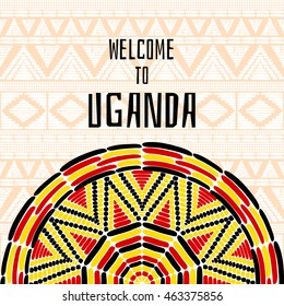 Tourist tribal Uganda vector design. African ethnic print for travel card, banner or flyer template. Vacation illustration in Ugandan flag black, yellow and red colors.