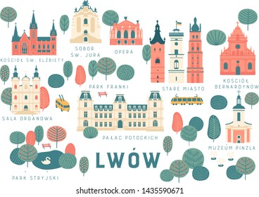 Tourist vector map of Lviv city, Ukraine, landmarks. polish language:   st. george's cathedral, opera, hight castle, old town, bernardine church, organ hall, pototsky palace, pinzel museum, parks