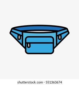 Tourist Waist Bag Minimal Colorful Flat Line Stroke Icon Pictogram Symbol Illustration