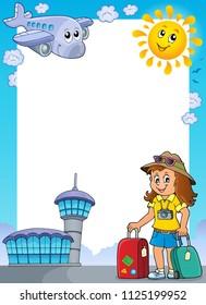 Tourist woman theme frame 1 - eps10 vector illustration.