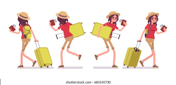 Tourist woman walking and running with luggage and plane tickets, wearing comfy travel outfit, arriving late at airport for check-in. Vector flat style cartoon illustration, isolated, white background