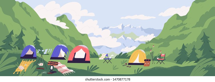 Touristic camp or campground with tents and campfire. Landscape with forest campsite against mountains in background. Location for adventure tourism, travel, backpacking. Flat vector illustration.