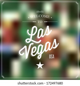 "Touristic Retro Vintage Greeting label, Typographical background ""Welcome to Las Vegas, USA"", Vector design."