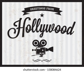 "Touristic Retro Vintage Greeting sign, Typographical background ""Greetings from Hollywood"", Vector design. Texture effects can be easily turned off."
