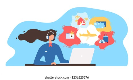 Touristic Service Flat Vector Illustration with Travel Company Manager, Airline Call Canter Manager Wearing Headset, Using Laptop, Consulting Clients on Phone or Online. Choosing Vacation Tour Concept