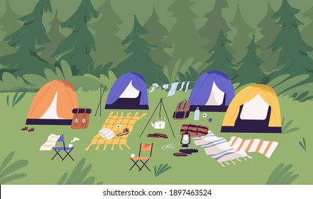 Touristic summer campground with tents, picnic blankets, sleeping bags and backpacks. Camping area in clearing in forest. Tourism in nature. Colored flat vector horizontal illustration