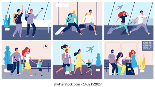 Tourists airport. People with luggage in international airport terminal passengers going summer vacation transportation vector concept