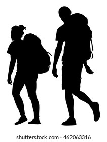 Tourists couple with backpacks vector silhouette illustration isolated on white background.