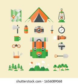 Tourists equipment and travel accessories vector set. Forest camping and hiking flat elements.