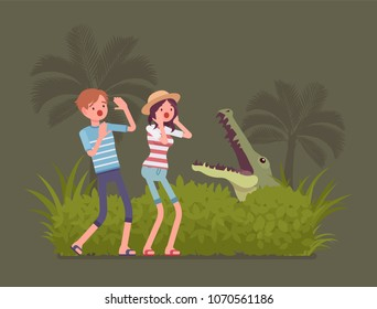 Tourists lost in wild nature. People in extreme vacation, unable to find way in the tropics, afraid or anxious of crocodile in natural environment, Vector flat style cartoon illustration