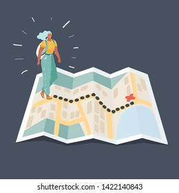 Tourists near stand on information map about Hiking. Woman with backpacks. Tour in summer activity. Expedition and Board. Route search.