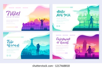 Tourists on the background of cities brochure cards set. Travel around the world template of flyear, magazines, poster, books, invitation banners. People on the background of attractions layout