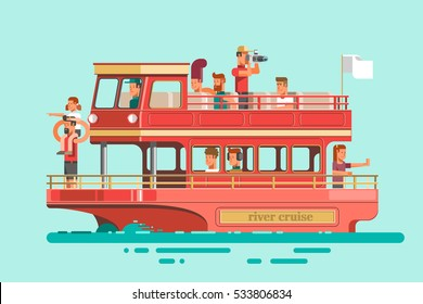 Tourists on cruise ship sailing on the river, have a rest and take photos. Vector illustration.