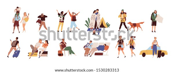 Tourists on vacation flat vector illustrations set. Young travelers cartoon characters. Seasonal recreation, adventure trip concept. Tropical resort, camping, waiting at airport and taxi catching.