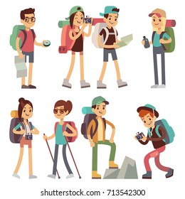 Tourists people characters for hiking and trekking, holiday travel vector concept. Tourist character man and woman, hiker and tourism illustration