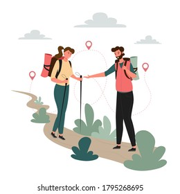 Tourists people group man woman couple hiking. Woman on hiking trip a man gives a hand to a woman. Woman walking along the path with hiking sticks in her hands. Travelers hiking adventure
