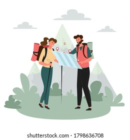Tourists people group man woman couple hiking. Woman on hiking trip a man gives a hand to a woman. Woman walking along the path with hiking sticks in her hands. Travelers hiking adventure, orienteerin