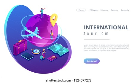 Tourists with suitcase and backpacks travelling around the globe by plane. Global travelling, trip around the world, international tourism concept. Isometric 3D website app landing web page template