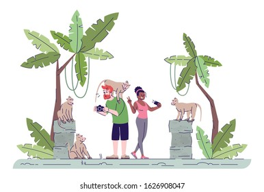 Tourists taking photos flat doodle illustration. Couple photographing primates. Monkey forest. Vacation in tropical country. Indonesia tourism 2D cartoon character with outline for commercial use
