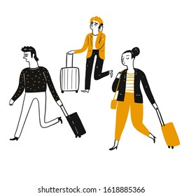Tourists, travelers pulling suitcases walked to the destination. Line art, Vector Illustration hand drawing doodle style.