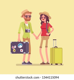 Tourists in travelling outfit with luggage and suitcases. Happy young man and woman making a journey to visit warm countries, holiday tour for recreation. Vector flat style cartoon illustration