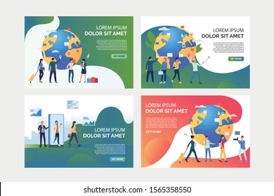 Tourists using mobile phones set. Passengers talking on cells, carrying luggage. Flat vector illustrations. Communication or travel concept for banner, website design or landing web page