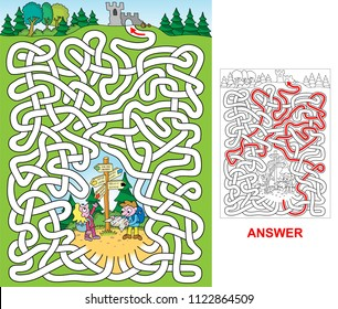 Tourists. Which way leads to the castle ruins? Labyrinth for kids.