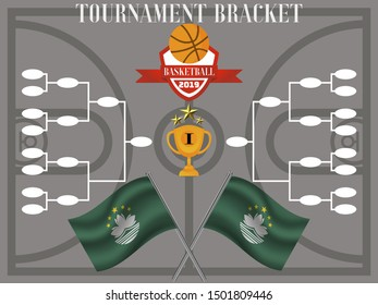 Tournament Bracket with Cup and stars and ball for competition team. With Flag of Macau. Perfect background for competition.