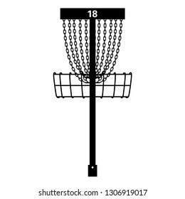 Tournament Disc Golf Basket Pin Hole 18 Vector Illustration Icon Symbol