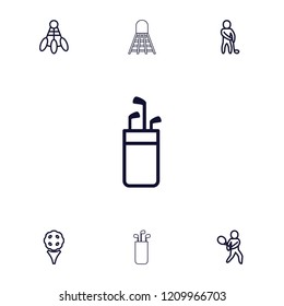 Tournament icon. collection of 7 tournament outline icons such as golf, golf putter, shuttlecock, tennis playing. editable tournament icons for web and mobile.